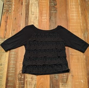 Abercrombie & Fitch Lace Ruffle 3/4 Sleeve Top